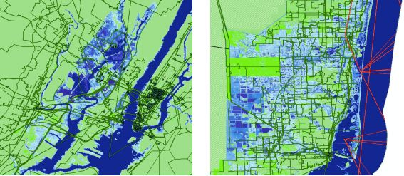 Overlap of internet infrastructure and seawater in New York (left) and Miami (right) with average sea level rise of six feet.