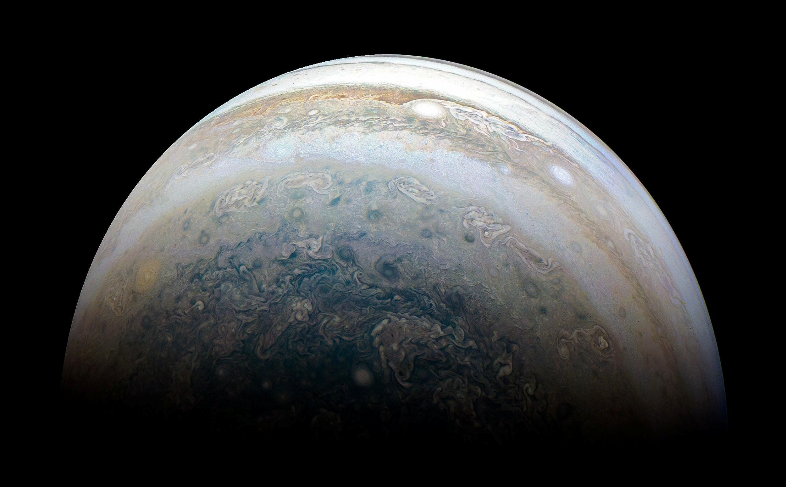 NASA's Juno spacecraft captures Jupiter's southern hemisphere, as the spacecraft performed its 13th close flyby of Jupiter on May 23, 2018.  Picture taken May 23, 2018.    NASA/JPL-Caltech/SwRI/MSSS/Kevin M. Gill/Handout via REUTERS     ATTENTION EDITORS - THIS IMAGE WAS PROVIDED BY A THIRD PARTY.