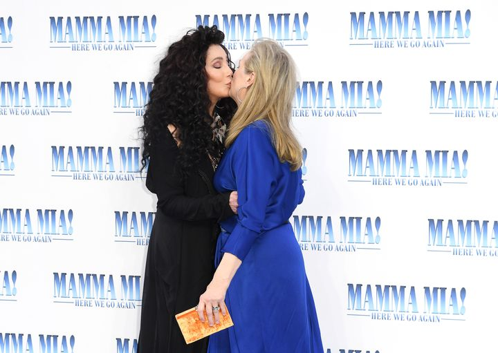 "Cher and Meryl Streep at the ""Mamma Mia! Here We Go Again"" world premiere on July 16, 2018."