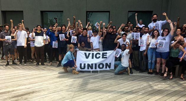 Vice employeesgatheron the rooftop ofthe company's Brooklyn headquarters on Tuesday...