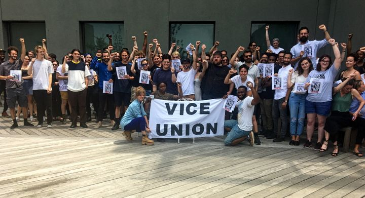 Vice employees gather on the rooftop of the company's Brooklyn headquarters on Tuesday to discuss next steps.