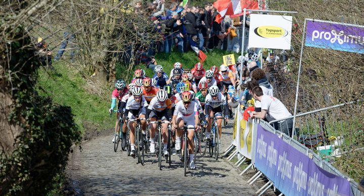 Women compete in the Tour of Flanders, 2015.