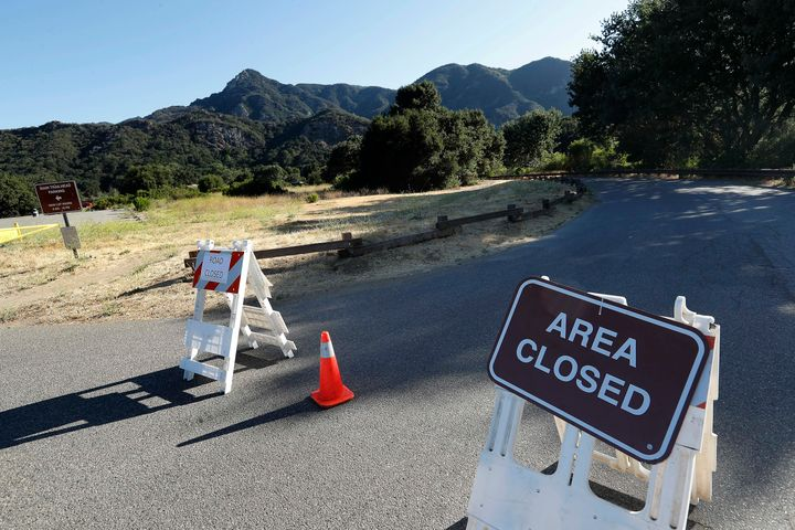A road leading to a camping area at Malibu Creek State Park is closed.