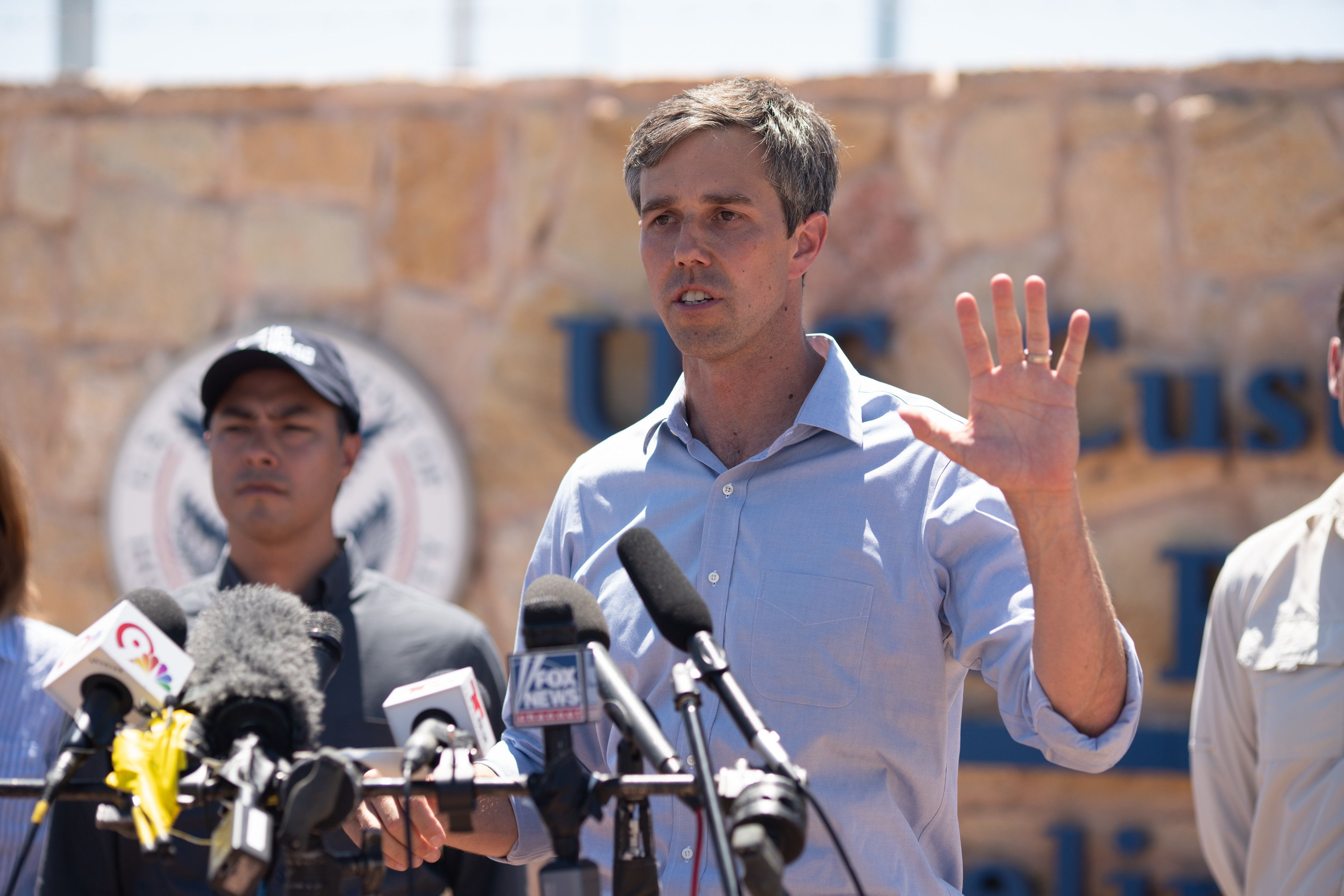 Texas Congressman Beto O'Rourke addresses the press after he and other politicians visited the tent city  June 23, 2018 in Tornillo, Texas, housing immigrant children separated from their parents because of the Trump administration's zero tolerance policy. - He described the conditions of the camp to be good, but that it didn't excuse the actions of the Trump adminstration. (Photo by Paul Ratje / AFP)        (Photo credit should read PAUL RATJE/AFP/Getty Images)