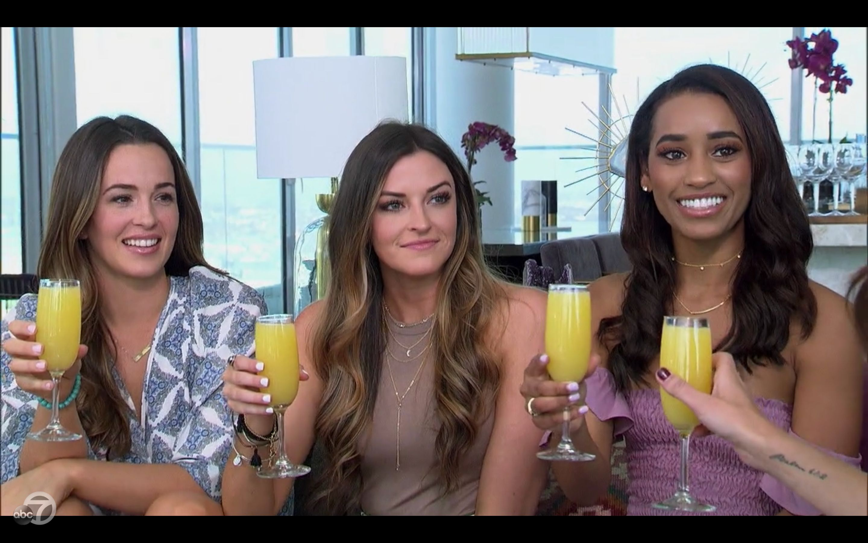 "Caroline Lunny, Tia Booth and Seinne Fleming on ""The Bachelorette."""