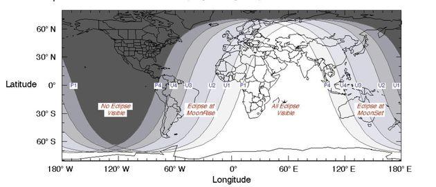 Ilustración de la NASA que muestra desde dónde se podrá ver la luna de sangre del 27 de julio de