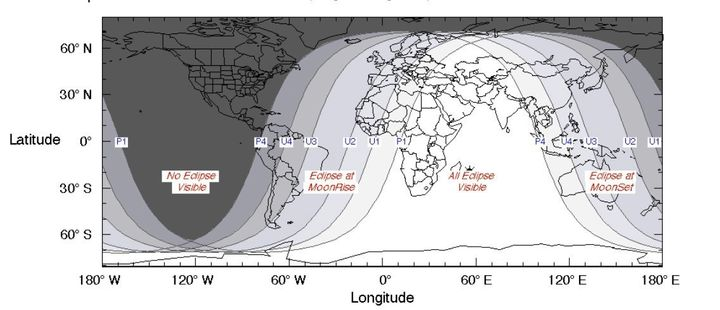 This illustration from NASA shows where in the world the July 27, 2018, eclipse will be visible.