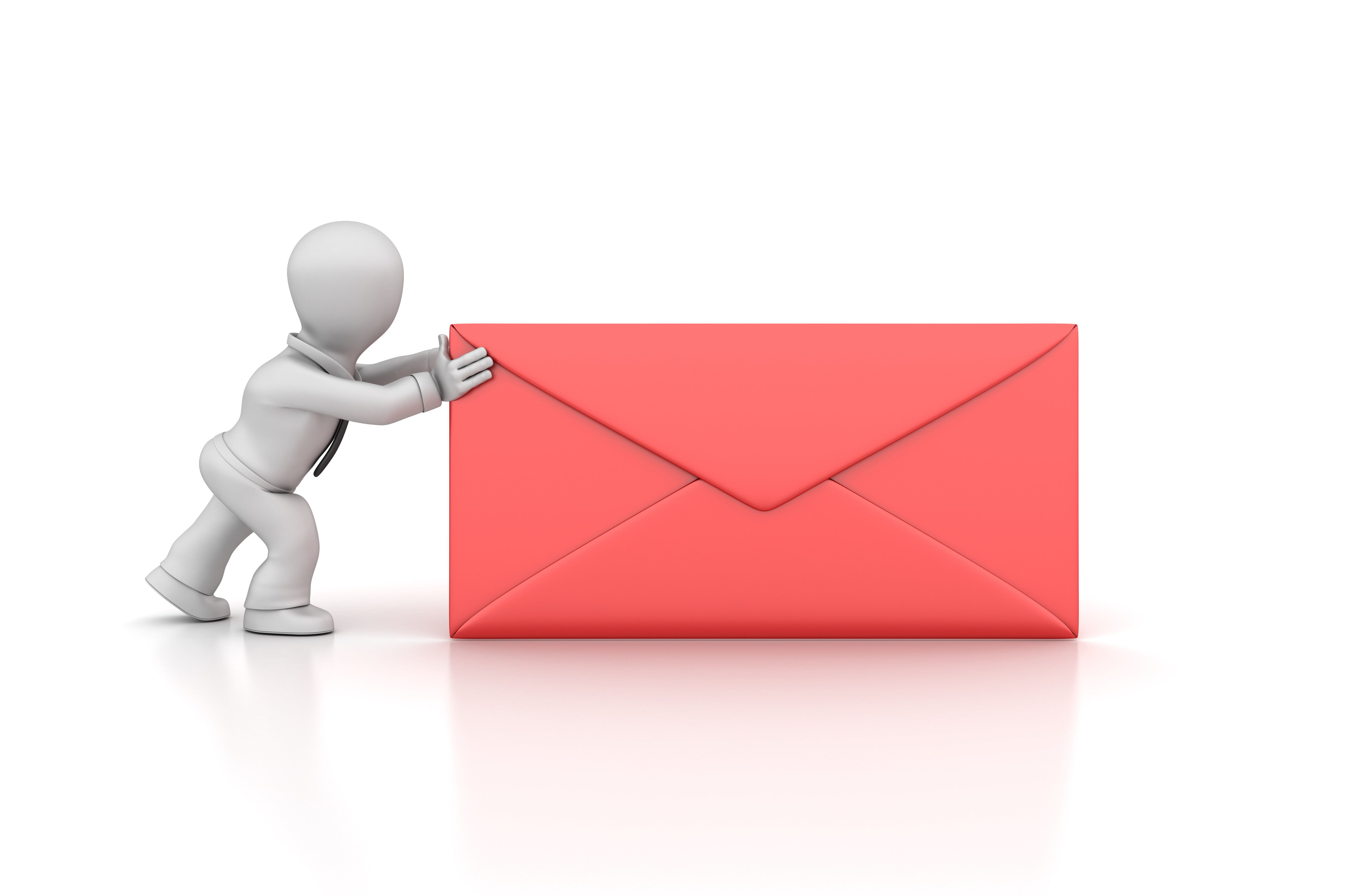 Business Character and Envelope - White Background - 3D Rendering