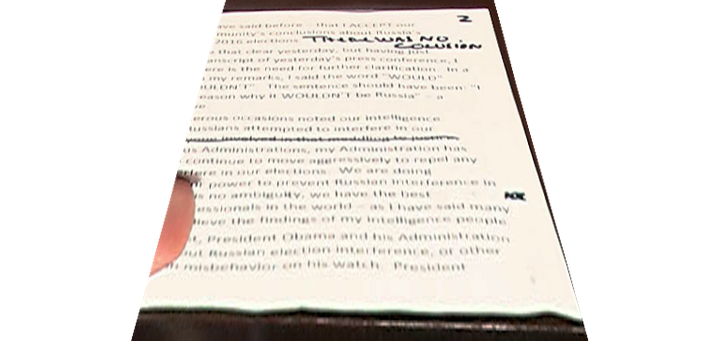 "A close-up of Trump's ""There was no colusion"" note."