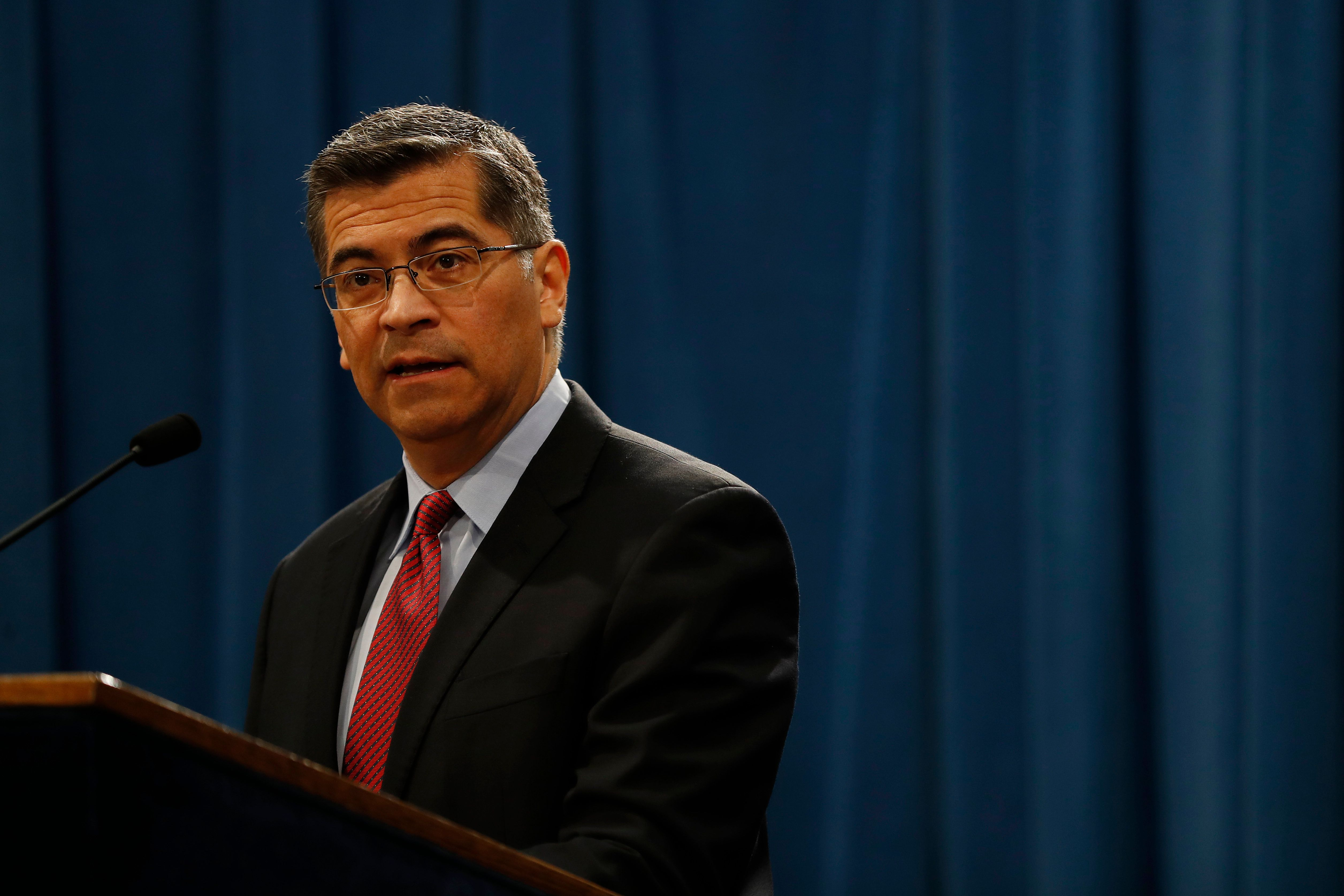 SACRAMENTO, CA - MARCH 07: California Attorney General Xavier Becerra speaks during a press conference at the California State Capitol on March 7, 2018 in Sacramento, California. The press conference came in response to an earlier speech by U.S. Attorney General Jeff Sessions at a nearby hotel and the Justice Department's decision to sue the State of California over its controversial sanctuary policies for undocumented immigrants. (Photo by Stephen Lam/Getty Images)