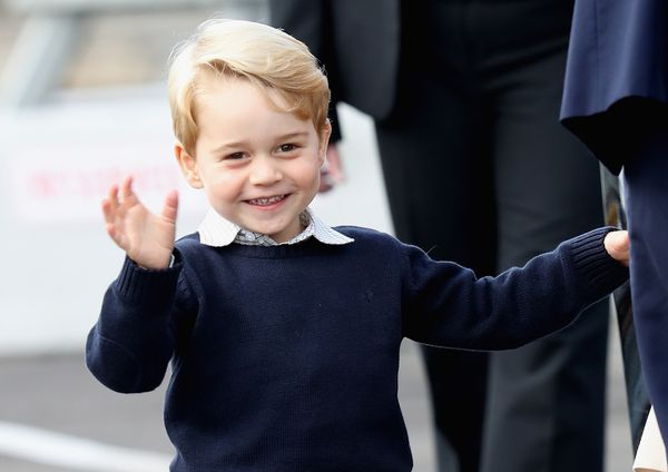 Prince George waves as he leaves from Victoria Harbour to board a sea-plane on the final day of their Royal Tour of Canada on