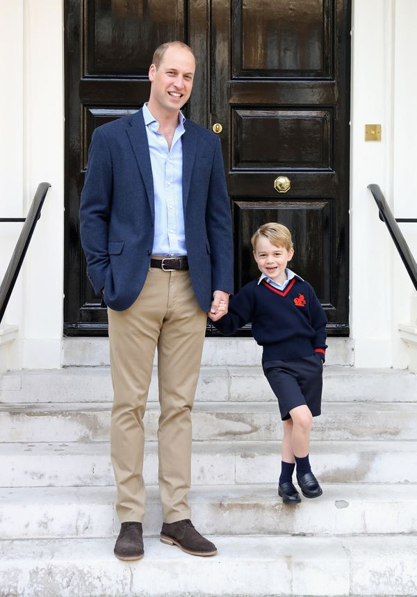 Prince William with Prince George on his first day of school at Thomas's Battersea on September 7, 2017, in London.