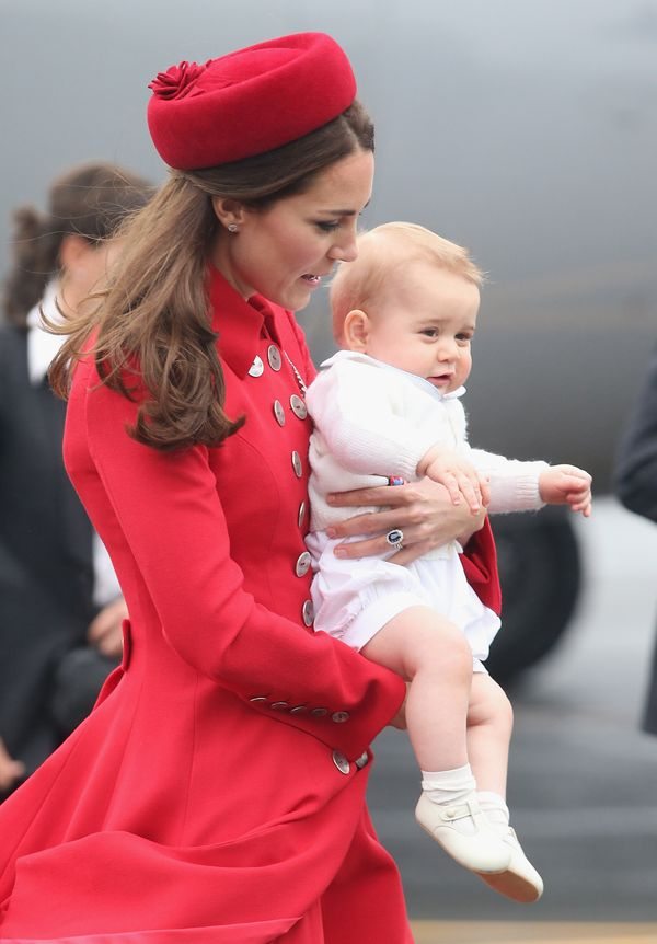 The Duchess of Cambridge and Prince George arrive at Wellington Military Terminalin New Zealand for the first day of th