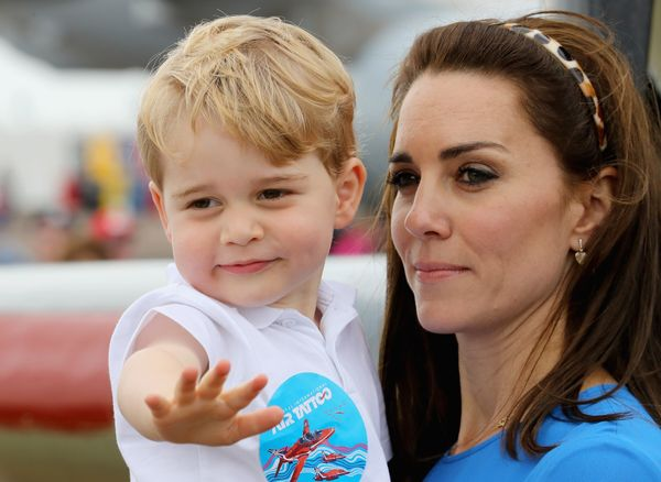 Catherine, Duchess of Cambridge and Prince George during a visit to the Royal International Air Tattoo in July 8, 2016, in Fa