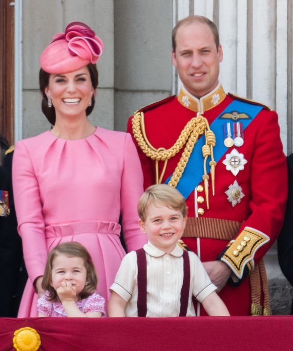 Prince George and his familylook on from the balcony during the annual Trooping The Colour parade on June 17, 2017, in