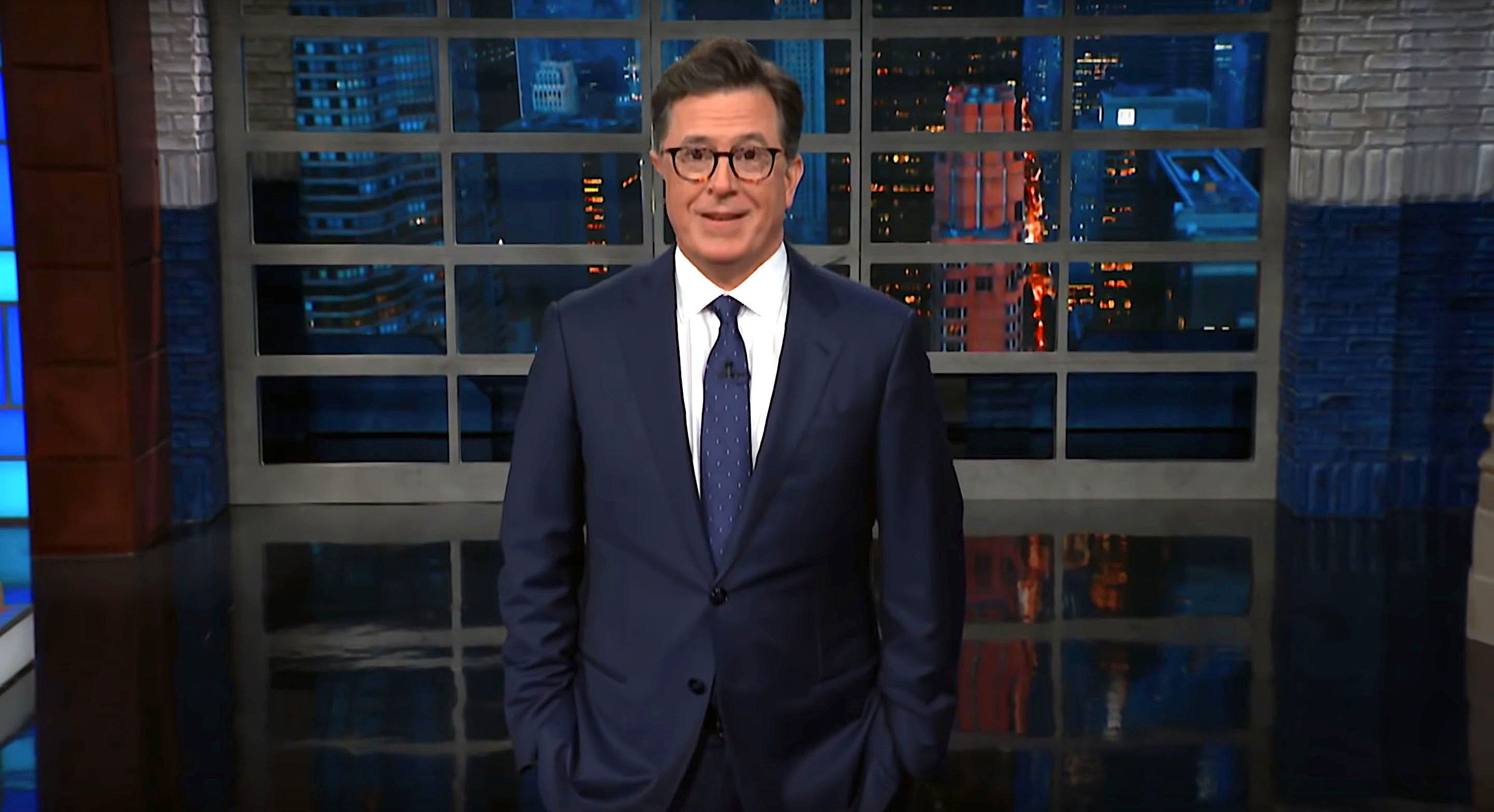 Stephen Colbert of The Late Show talks about President Donald Trumps emergency spin mode