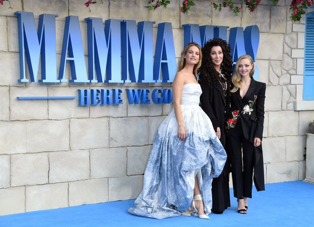 Cher was joined at the 'Mamma Mia! Here We Go Again' London premiere by co-stars Lily James (left) and...