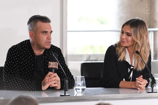 Robbie and Ayda at Tuesday's press