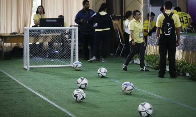 A mini football pitch had been set up at the press