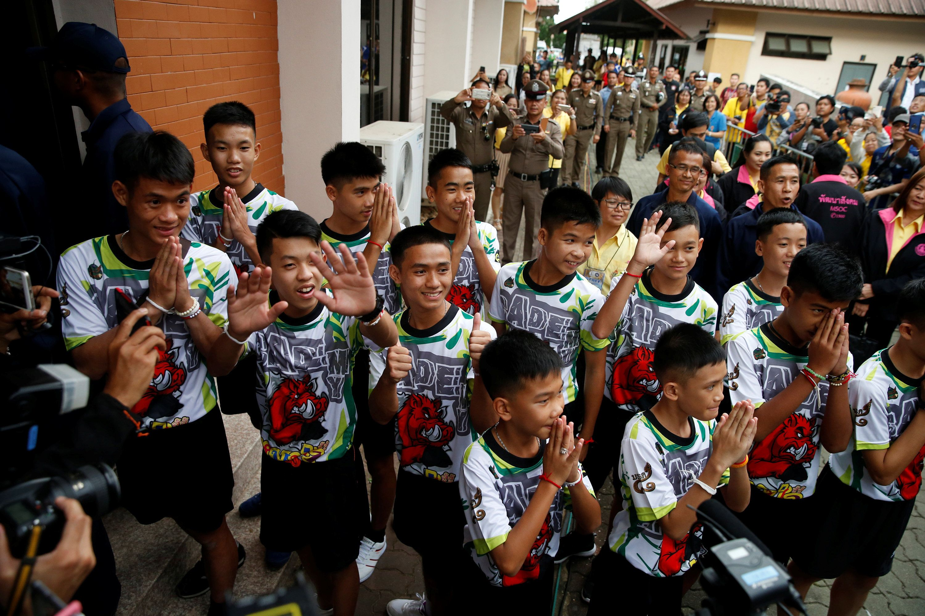 The 12 Thai Cave Rescue Boys And Their Coach Make First Public Appearance After Leaving