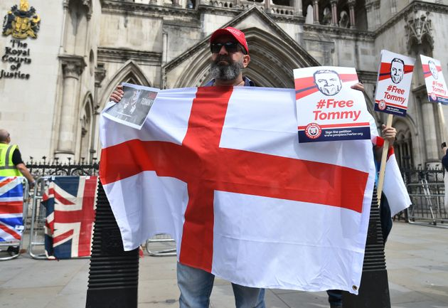 Supporters of Yaxley-Lennon gathered outside the court during his appeal hearing earlier this