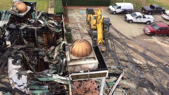 Damage from a fire that gutted the Victoria Islamic Center in January 2017, located about 125 miles (200 kms) south of Houston, Texas has been ruled as arson, is shown in this handout photo released by the Department of Justic in Houston, Texas, U.S., February 8, 2017.  Photo courtesy of the U.S. Department of Justic/Handout via REUTERS   ATTENTION EDITORS - THIS IMAGE WAS PROVIDED BY A THIRD PARTY. EDITORIAL USE ONLY.
