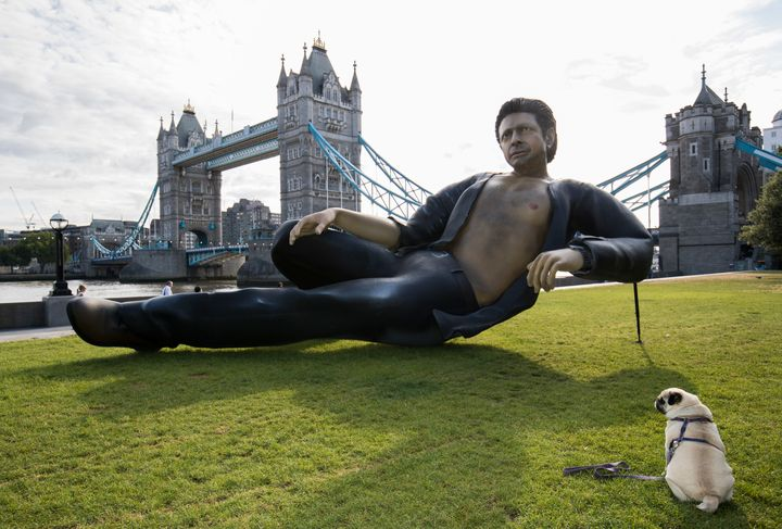 "Streaming service Now TV unveiled a statue of Jeff Goldblum on July 18 in honor of the 25th anniversary of ""Jurassic Park."""
