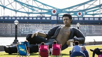 LONDON, ENGLAND - JULY 18:  Celebrating 25 years since Jurassic Park first premiered in the UK, streaming service NOW TV unveil a statue of Jeff Goldblum semi-naked torso at Potters Field on July 18, 2018 in London, England.  (Photo by John Phillips/Getty Images)