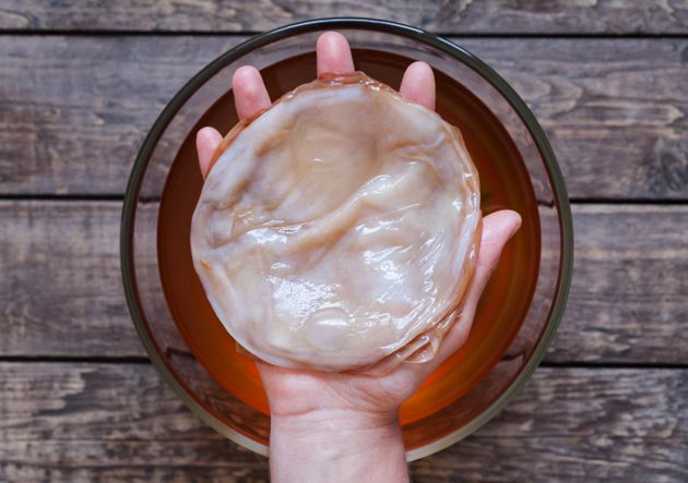 The scoby-- symbiotic cultures of bacteria and yeast --infuses kombucha with yeast andbeneficial...