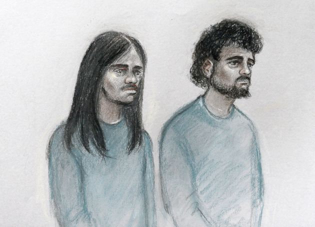 A court sketch of Naa'imur Zakariyah Rahman (left) and Mohammed Aqib Imran in the dock at Westminster...