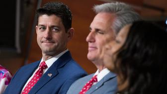 UNITED STATES - JULY 17: From left, Speaker Paul Ryan, R-Wis.,  House Majority Leader Kevin McCarthy, R-Calif., and Rep. Mia Love, R-Utah, conduct a news conference in the Capitol Visitor Center on July 17, 2018. Members fielded questions on yesterday's meeting between President Donald Trump and Russian President Vladimir Putin. (Photo By Tom Williams/CQ Roll Call)