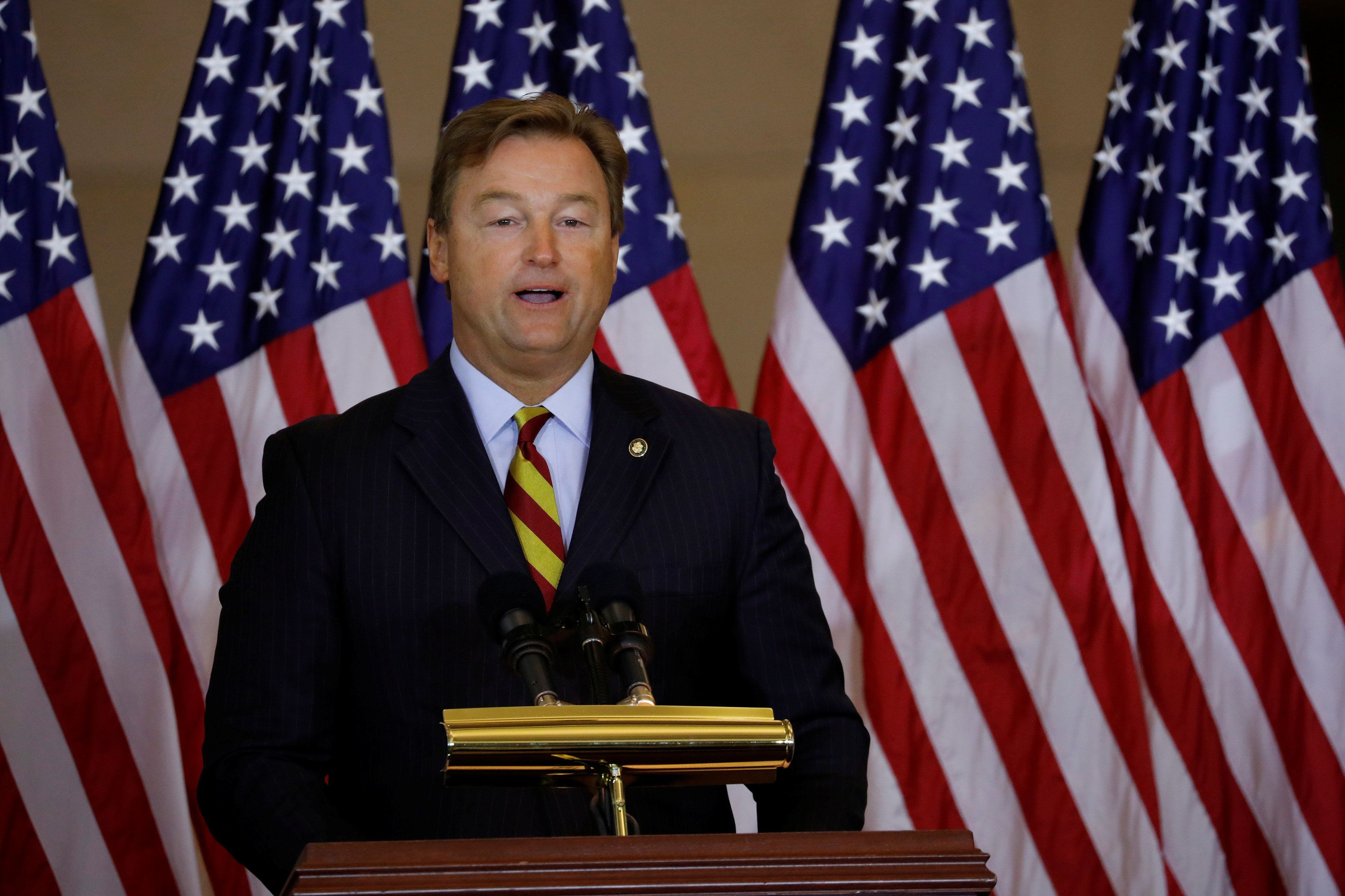 Sen. Dean Heller (R-NV) speaks during a ceremony to present the Congressional Gold Medal to Filipino veterans of the Second World War on Capitol Hill in Washington, U.S., October 25, 2017. REUTERS/Aaron P. Bernstein