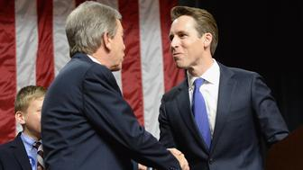 SPRINGFIELD, MO - NOVEMBER 09: Senator Roy Blunt (R-MO) greets newly elected Missouri Attorney General Josh Hawley prior to speaking to supporters after winning his campaign for Missouri Senator on November 9, 2016 in Springfield, Missouri. Missouri Republican Blunt has kept his seat in the US Senate defeating Democrat Jason Kander.  (Photo by Michael B. Thomas/Getty Images)