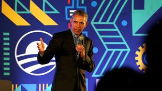 Former US President Barack Obama speaks during his town hall meeting for the Obama Foundation at the African Leadership Academy in Johannesburg, South Africa, July 18, 2018. Themba Hadebe/Pool via REUTERS