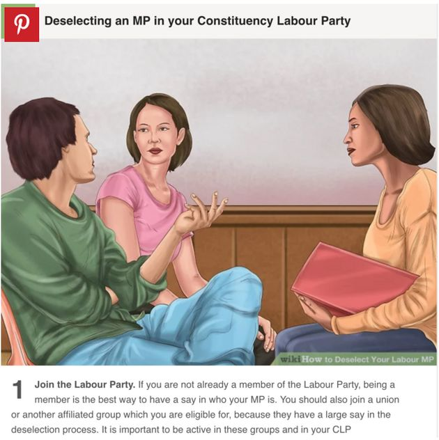 A page from the 'WikiHow Guide' to Labour MP deselection