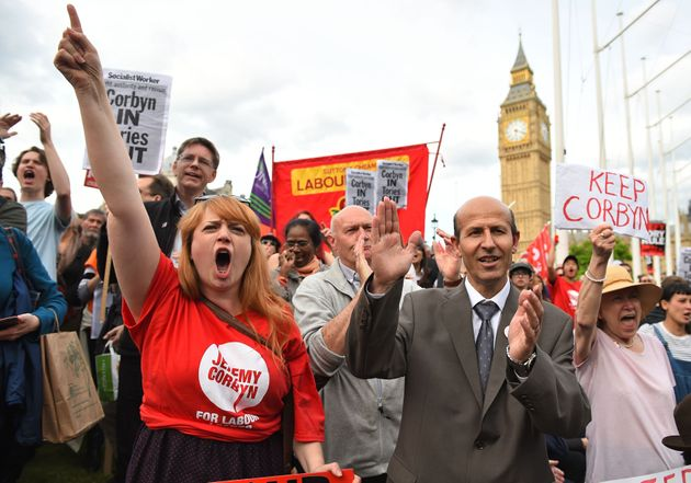 Momentum supporters hold a 'Keep Corbyn' protest during the failed 2016 leadership 'coup'