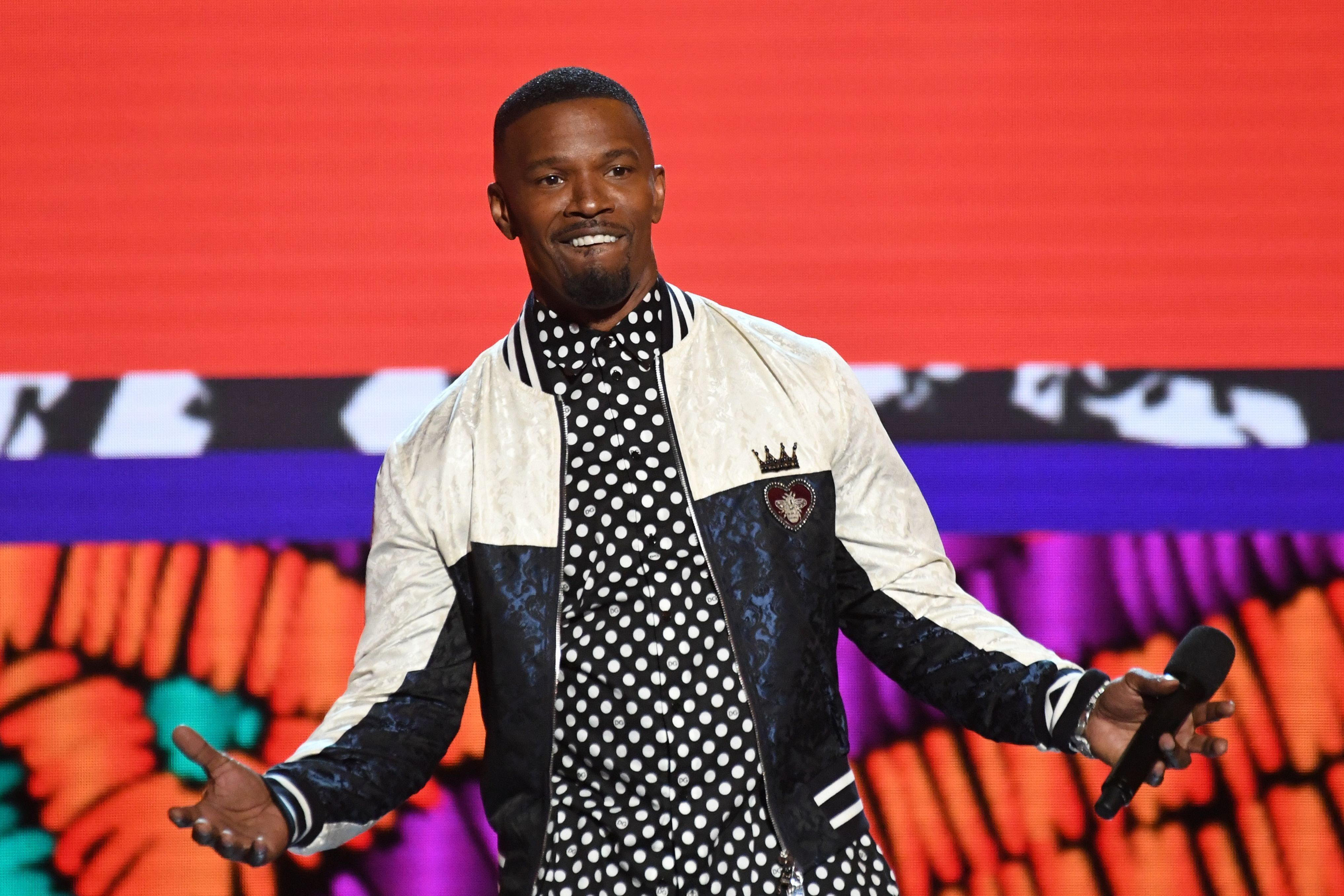 Jamie Foxx hosts the BET Awards at Microsoft Theatre in Los Angeles, California, on June 24, 2018. (Photo by Valerie MACON / AFP)        (Photo credit should read VALERIE MACON/AFP/Getty Images)
