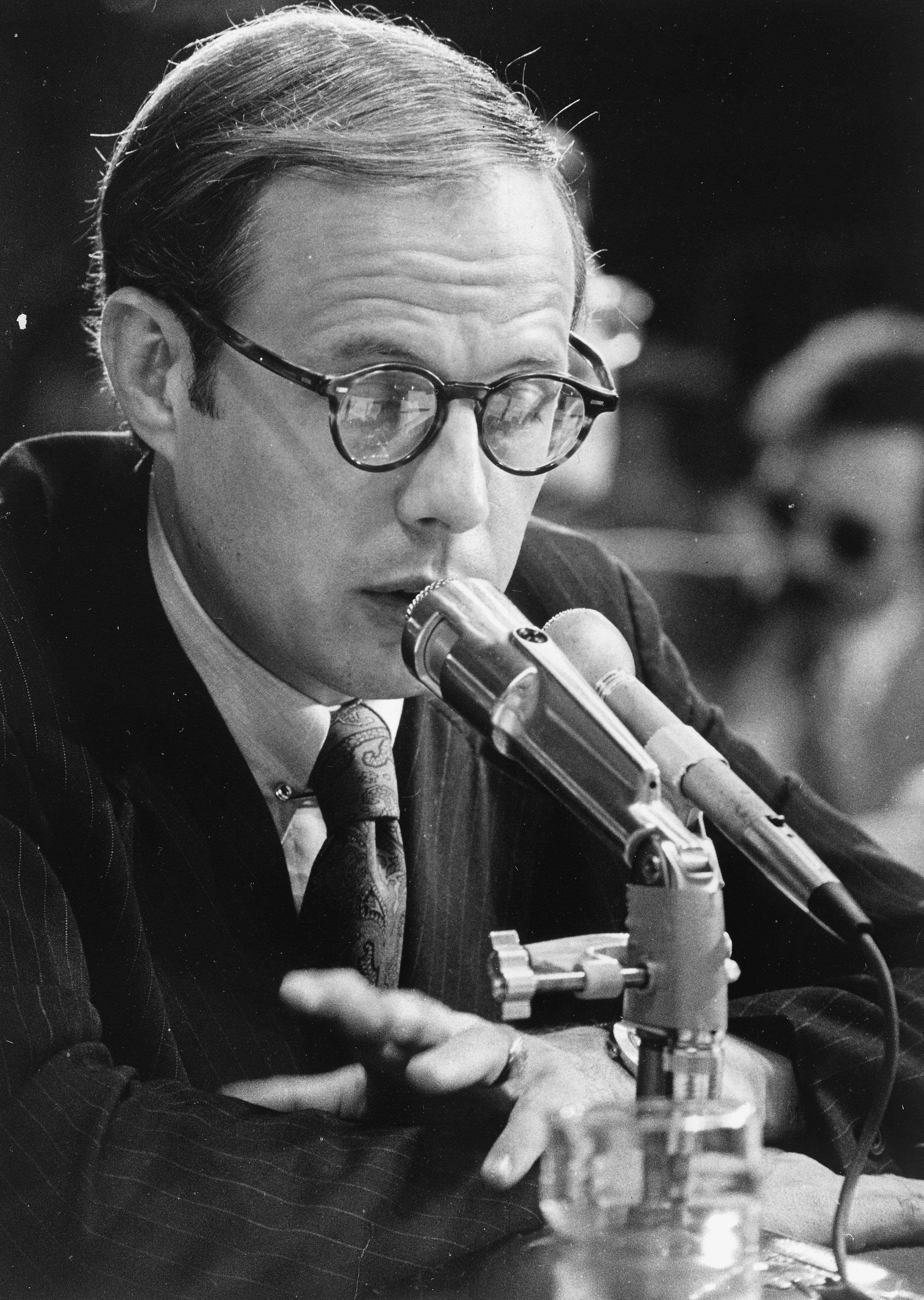 WASHINGTON, DC - JUNE 26:  Former Presidential aide John Dean III testifies for the second day before the Senate Watergate Investigating Committee. Photographed June 26, 1973 in Washington, DC. (Photo by James K.W. Atherton/The Washington Post via Getty Images)