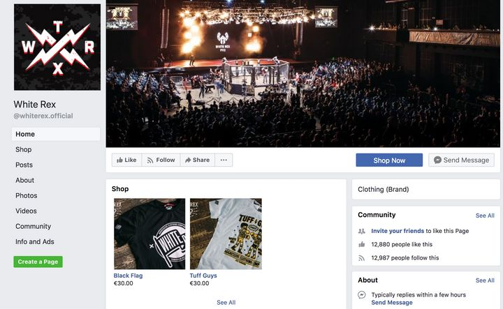 A screenshot of the White Rex Facebook page.