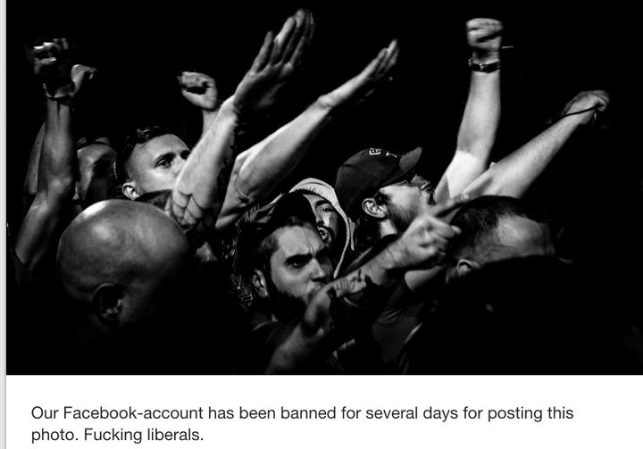 A photo from the White Rex Tumblr account in 2016 claims to show a photo that Facebook briefly banned White Rex for posting o