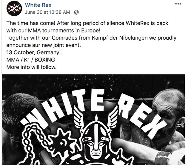 White Rex also uses its Facebook page to promote white nationalist MMA