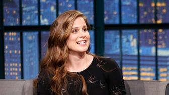LATE NIGHT WITH SETH MEYERS -- Episode 279 -- Pictured: (l-r) Author Lauren Groff during an interview with host Seth Meyers on October 28, 2015 -- (Photo by: Lloyd Bishop/NBC/NBCU Photo Bank via Getty Images)