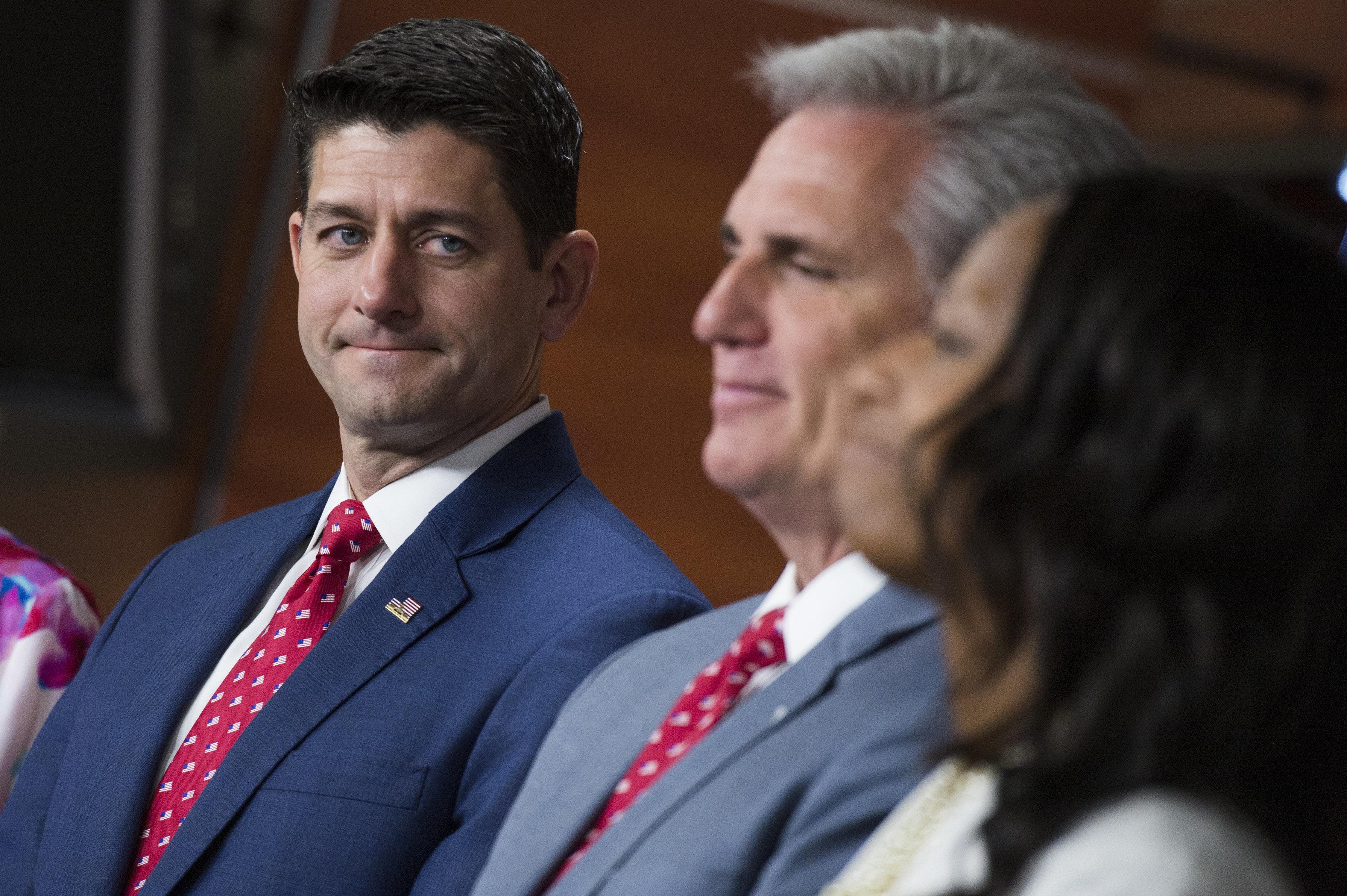 Speaker Paul Ryan(R-Wis.), House Majority Leader Kevin McCarthy(R-Calif.) and Rep. Mia Love(R-Utah) at a ne