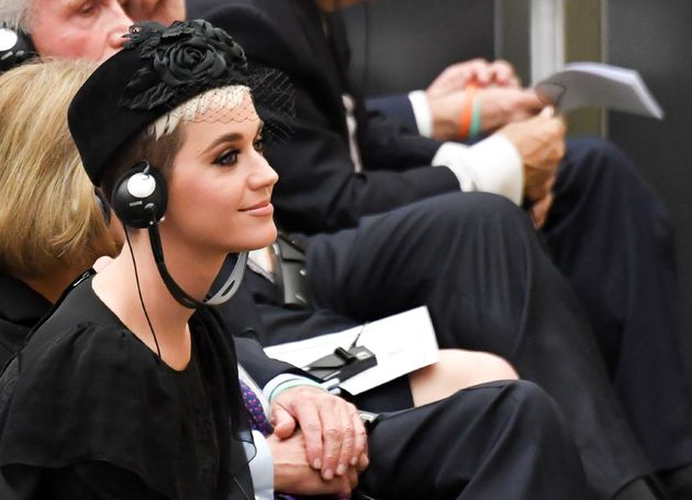Katy Perry looks toward an unseen Pope Francis as he welcomes participants to a health conference at...