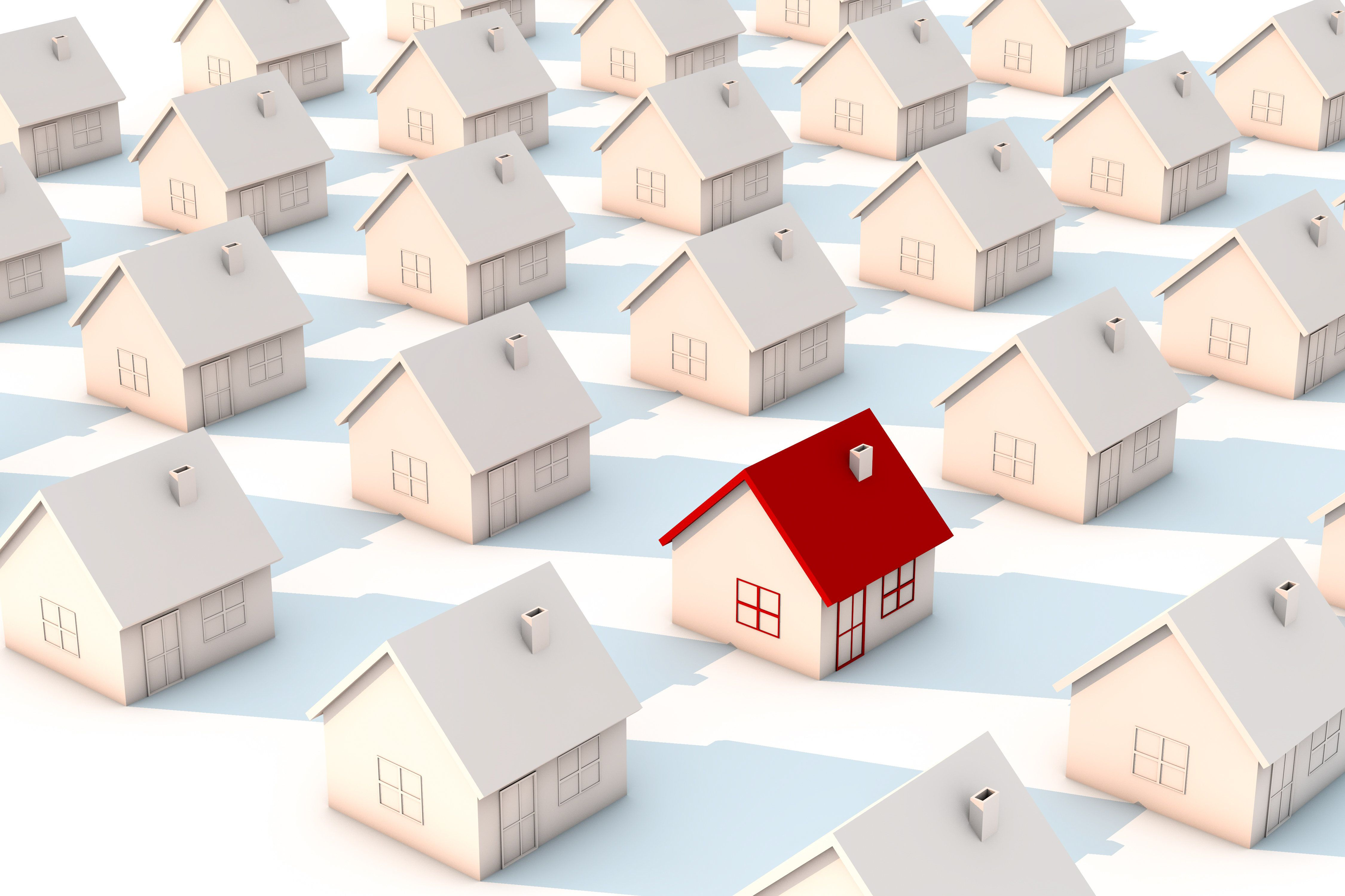 3d illustration red house in group white houses on white backgrounds