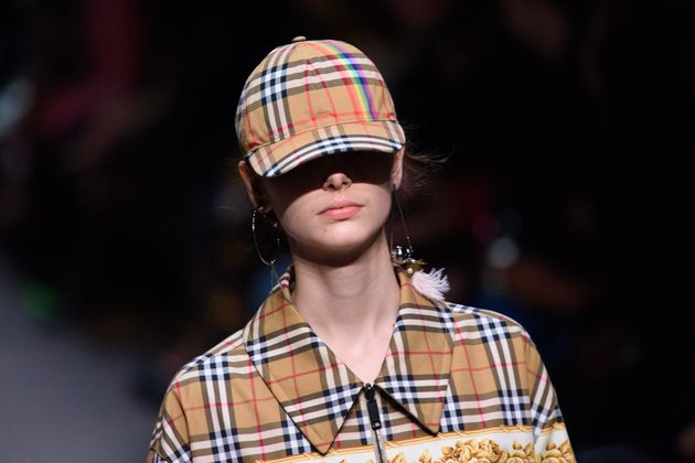 A model on the catwalk at the Burberry London Fashion Week show in