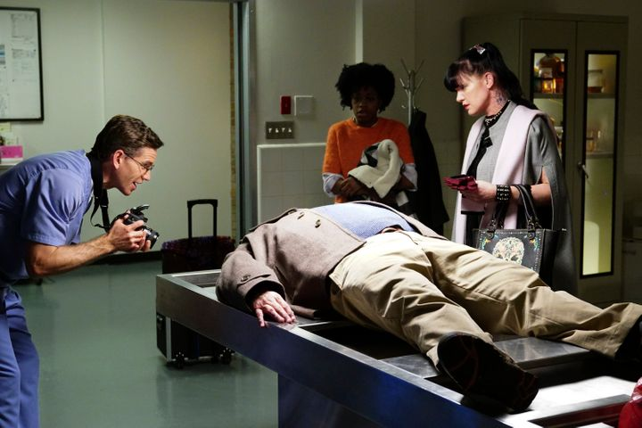 "Diona Reasonover, with Pauley Perrette and Brian Dietzen, in a scene from ""NCIS"" last season."