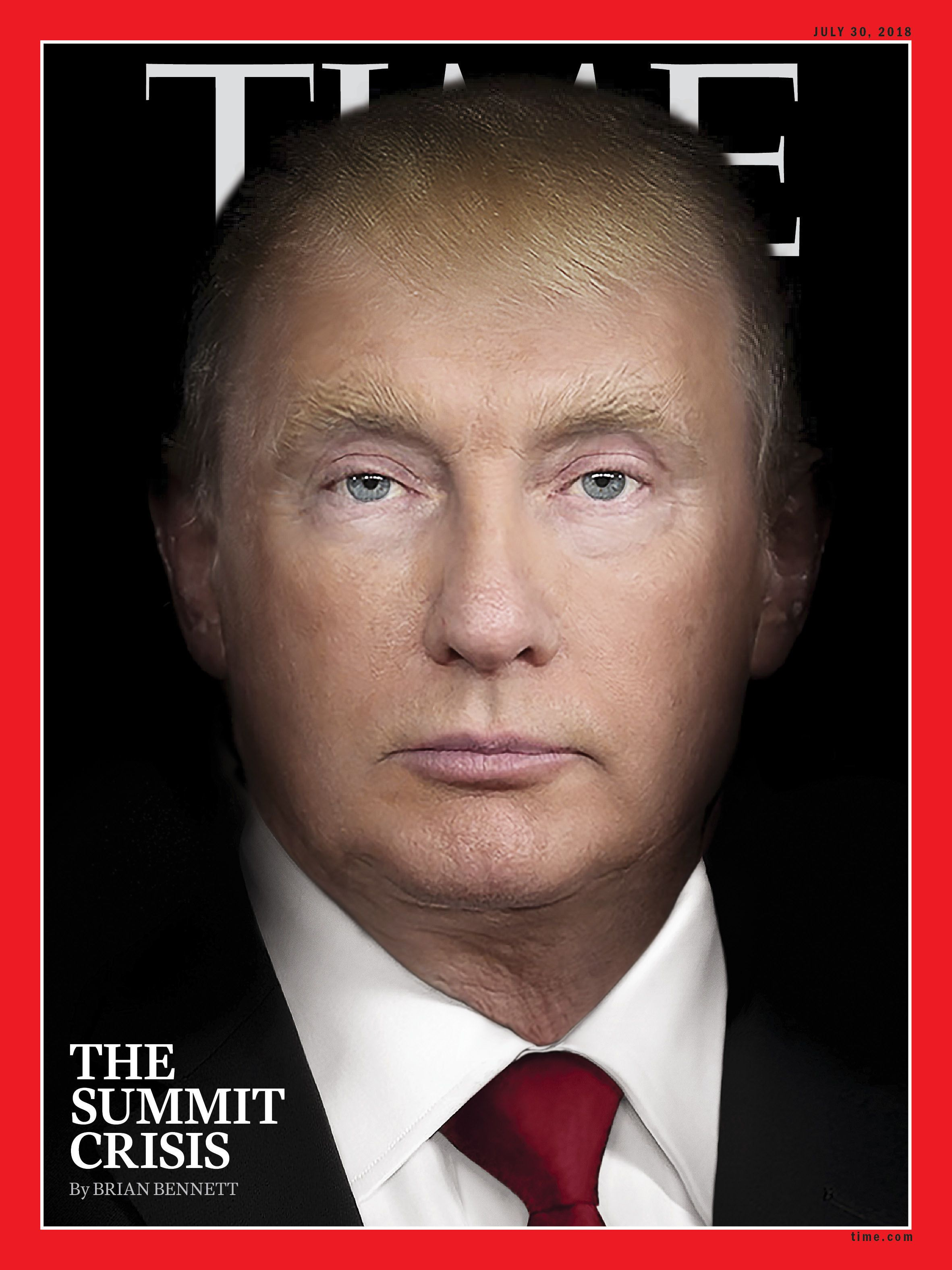 The cover of Time magazine's July 30 edition, with a photo illustration combining the images of President Donald Trump and Ru