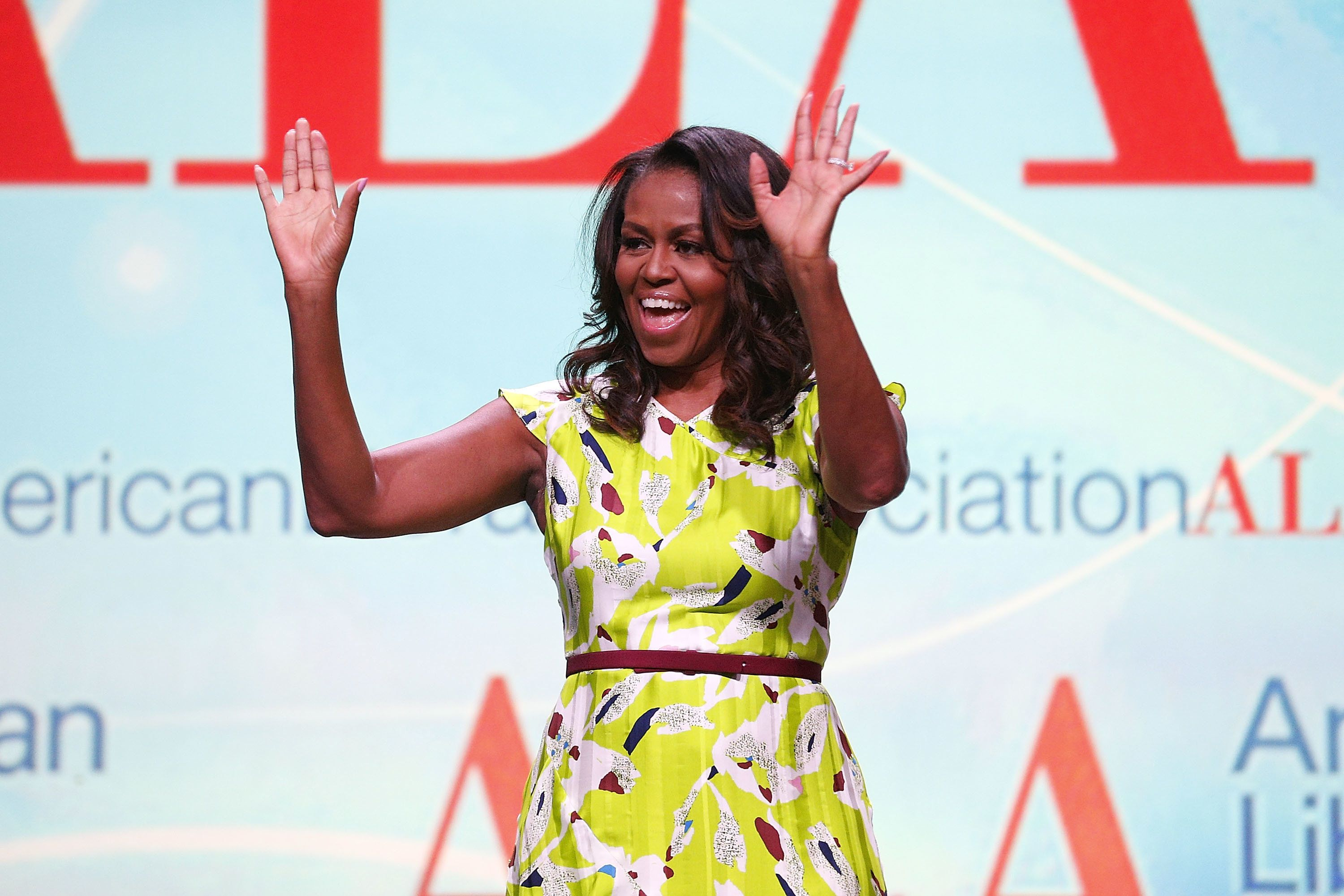 NEW ORLEANS, LA - JUNE 22:  Former U.S. first lady Michelle Obama discusses her forthcoming memoir titled, 'Becoming', during the 2018 American Library Association Annual Conference on June 22, 2018 in New Orleans, Louisiana.  (Photo by Jonathan Bachman/Getty Images)