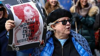 CHICAGO, USA - JANUARY 20: Protesters participate in the Women's March against U.S. President Donald J. Trump in Chicago, United States on January 20, 2018.   (Photo by Bilgin S. Sasmaz/Anadolu Agency/Getty Images)